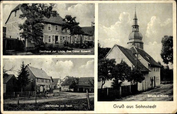 Sohnstedt Mönchenholzhausen Thüringen, Gasthaus zur Linde, Bes. Oskar Eckardt, Kirche, Schule
