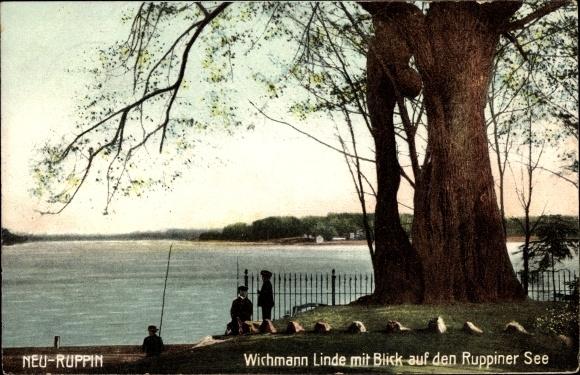 Neuruppin in Brandenburg, Wichmann Linde mit Blick auf den Ruppiner See