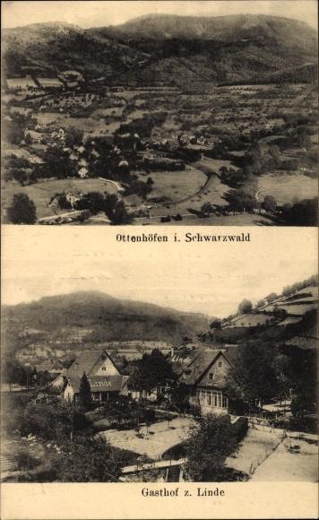 Offenhöfen im Schwarzwald Ortenaukreis, Gasthaus zur Linde, Blick auf Ortschaft und Umgebung