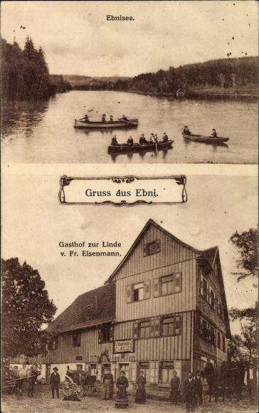 Ebni Backnang im Rems Murr Kreis, Ebnisee, Gasthof zur Linde, Fr. Eisenmann, Ruderboote