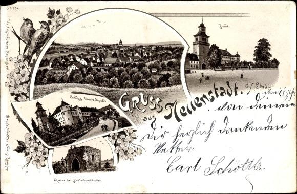 Neuenstadt am Kocher in BW, Linde, Ortschaft, Schloss v. hinten, Ruine Helmbundkirche