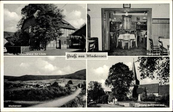Mackensen Dassel in Niedersachsen, Gasthaus zur Linde, Restaurant, Kirche, Ehrenmal, Bes. Göhmann