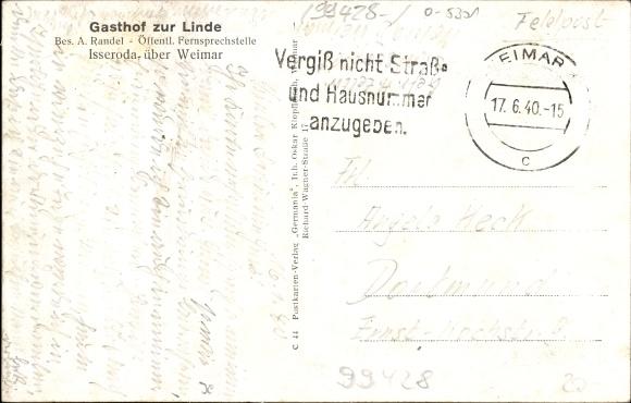 Isseroda Thüringen, Gasthof zur Linde, Bes. A. Randel