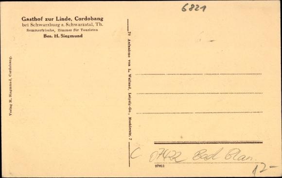Cordobang Bad Blankenburg, Gasthof zur Linde, H. Siegmund, Schwarzatal
