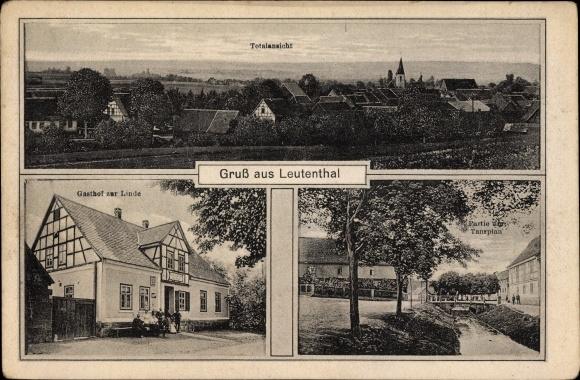 Leutenthal Thüringen, Totalansicht, Gasthof zur Linde, Partie am Tanzplan