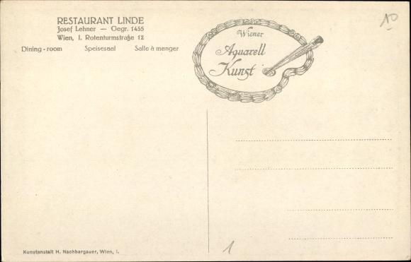Wien 1. Innere Stadt, Restaurant Linde, Inh. Josef Lehner, Rotenturmstraße 12, Speisesaal