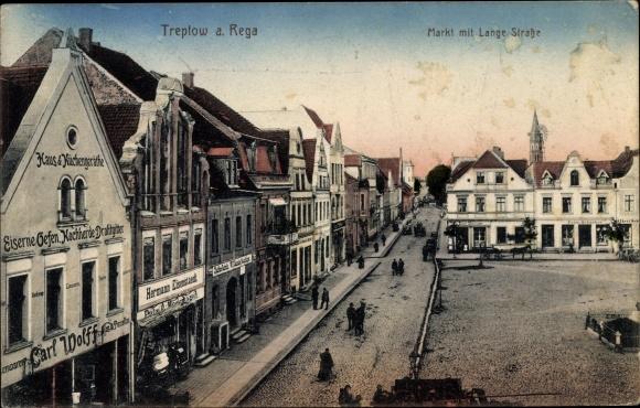 Pc Trzebiatów Treptow Rega Pommern, Markt, Lange Straße, shop Carl Wolff, Hermann Eisenstaedt
