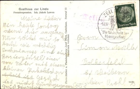 Tellig im Hunsrück, Blick auf Gasthaus zur Linde, Jakob Lawen