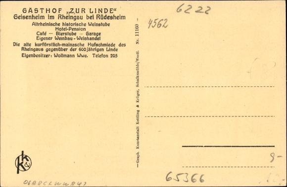 Geisenheim am Rhein Hessen, Gasthof Zur Linde, Besitzer Wollmann