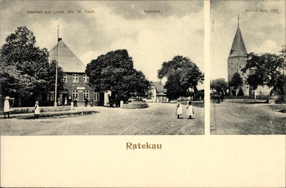 Ratekau Kreis Ostholstein, Gasthof zur Linde, W. Koch, Pastorat, Kirche