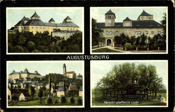 Augustusburg im Erzgebirge, Verkehrt gepflanzte Linde, Schloss
