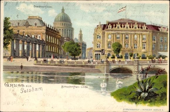 Potsdam in Brandenburg, Bittschriften Linde, Stadtschloss, Brücke