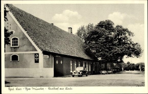 Bad Laer in Niedersachsen, Straßenpartie am Gasthof zur Linde