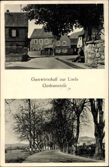 Godramstein Landau in der Pfalz, Gastwirtschaft zur Linde, Mich. Ackermann, Allee, Straßenpartie