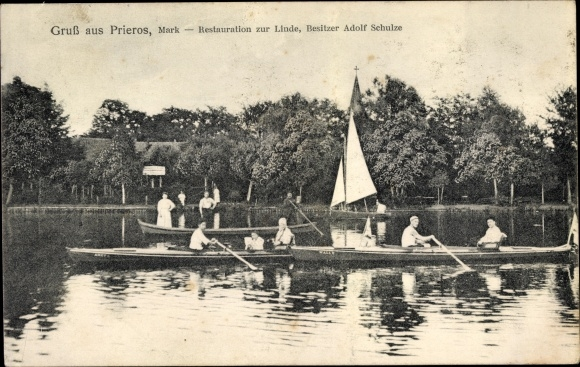 Prieros Heidesee in der Mark, Restauration zur Linde, Adolf Schulze, Ruderer