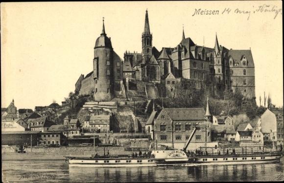 Ak-Meissen-in-Sachsen-Blick-auf-den-Ort-und-die-Burg-Salondampfer-1206509
