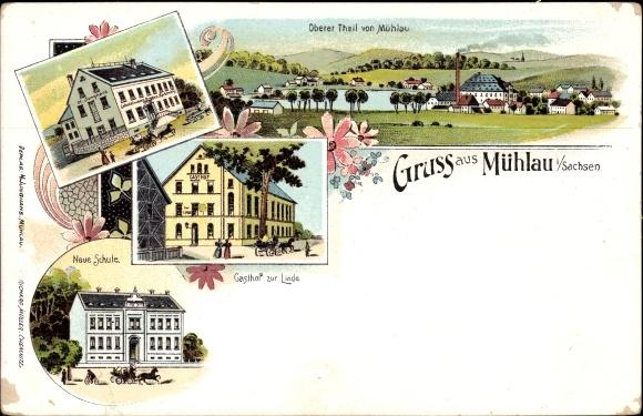 Mühlau Sachsen, Neue Schule, Gasthof zur Linde, Kolonialwaren H. Junghans