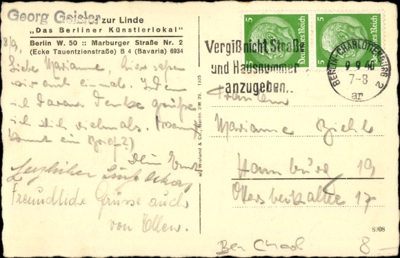 Berlin Charlottenburg, Künstlerlokal Zur Linde, Marburger Str. 2, Jagdzimmer, G. Geister