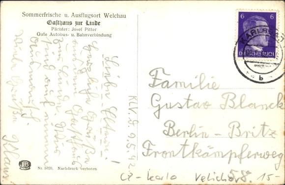 Velichov Welchau Reg. Karlsbad, Gasthaus zur Linde, Bes. Josef Pitter