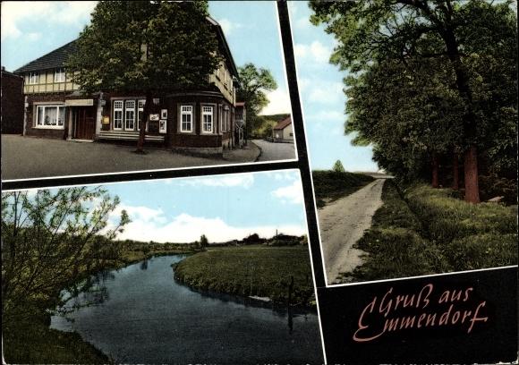 Emmendorf, Blick auf Gasthof Zur Linde, Partie am Wald, Fluss