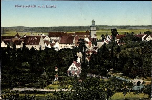 Neuenstadt an der Linde, Gesamtansicht der Ortschaft, Kirche, Wohnhäuser