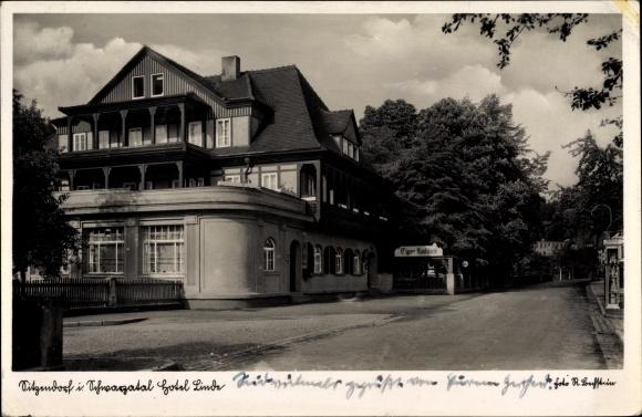 Sitzendorf in Thüringen, Ansicht des Hotel Linde, Straßenpartie