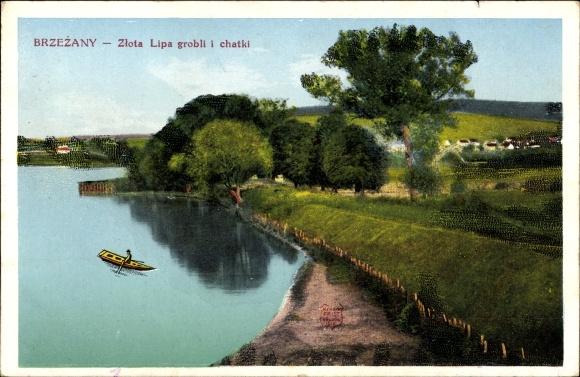 Brzezany Ukraine, Gelbe Linde, Flusspartie, Blick zum Ort, Zlota Lipa grobli i chatki