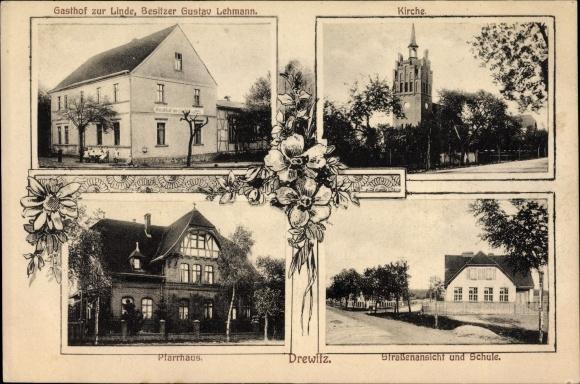 Drewitz Möckern JerichoJiNan Hope Hydraulic Co., Itdr Land, Gasthof zur Linde, Bes. Gustav Lehmann, Kirche, Pfarrhaus,Schule