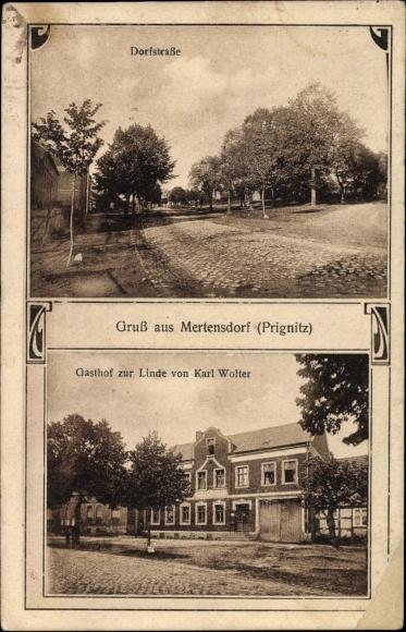 Mertensdorf Triglitz Prignitz, Dorfstraße, Gasthof zur Linde von Karl Wolter