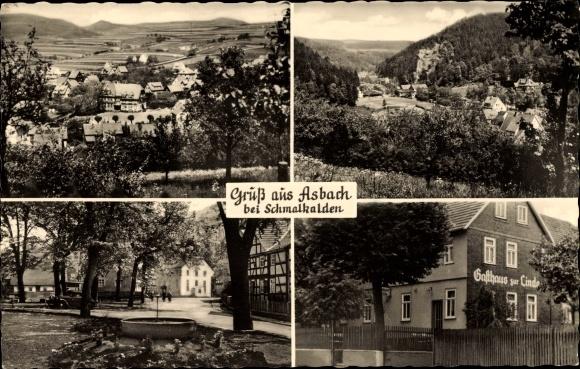 Asbach Schmalkalden, Gasthaus zur Linde, Stadtpanorama, Allee