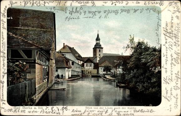 Bad Berka Weimarer Land Thüringen, Blick von der Linde nach der Kirche