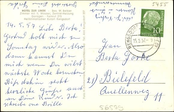 Rengsdorf in Rheinland Pfalz, Hotel Zur Linde, Besitzer W. Belker