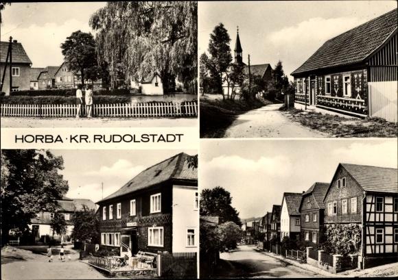 Horba Königsee Rottenbach in Thüringen, Gaststätte Zur Linde, Straßenpartie im Ort, Fachwerkhaus