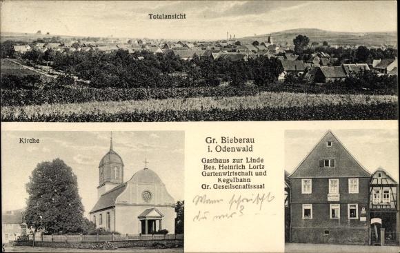 Groß Bieberau im Odenwald Hessen, Gasthaus zur Linde, Bes. Heinrich Lortz, Kirche, Totalansicht