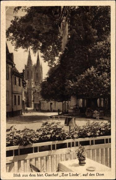 Geisenheim am Rhein Hessen, Blick auf Dom vom Gasthof Zur Linde