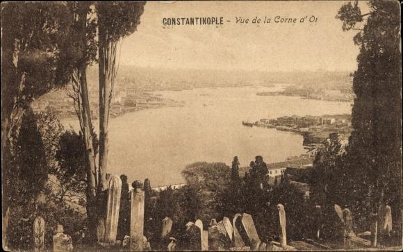 Ak-Konstantinopel-Istanbul-Tuerkei-Vue-de-la-Corne-d-039-Or-1623825