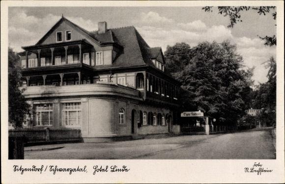 Sitzendorf an der Schwarza in Thüringen, Blick auf das Hotel Linde