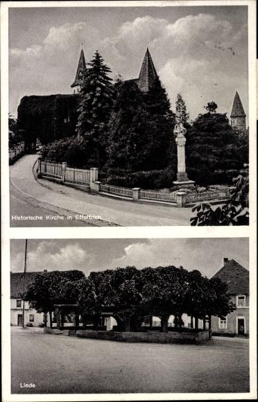 Effeltrich in Bayern, Blick auf die historische Kirche, Linde