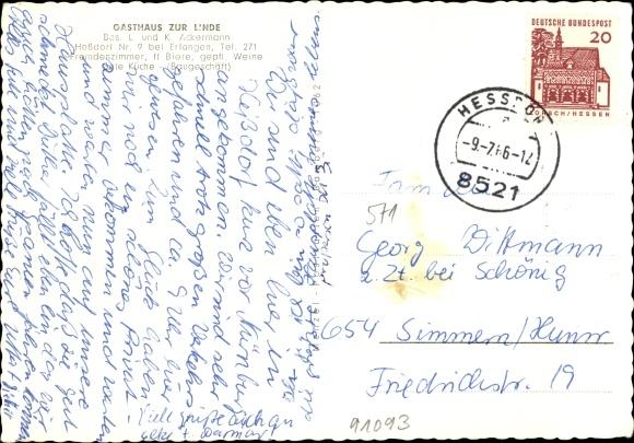 Heßdorf in Mittelfranken, Straßenpartie am Gasthaus zur Linde, Inh. L. Ackermann,Terrassenansicht