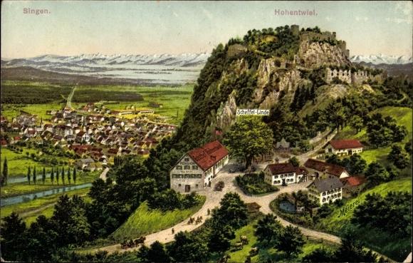 Singen Hohentwiel im Kreis Konstanz, Scheffel Linde, Totalansicht, Meierei, Gasthof