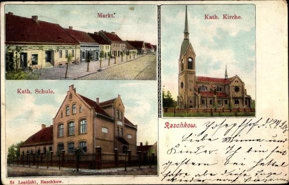 Ak Raszków Raschkow Posen, Katholische Kirche, Schule, Markt