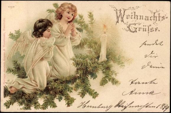litho weihnachten engel beten vor kerze tannenzweige. Black Bedroom Furniture Sets. Home Design Ideas