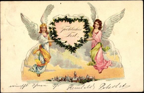 ansichtskarte postkarte frohe weihnachten engel tragen. Black Bedroom Furniture Sets. Home Design Ideas