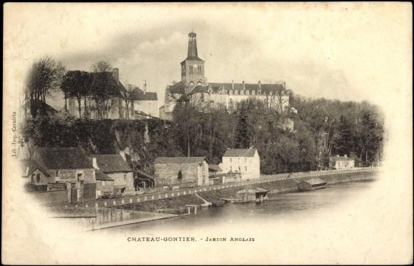 Carte postale chateau gontier mayenne jardin anglais for Jardins anglais celebres