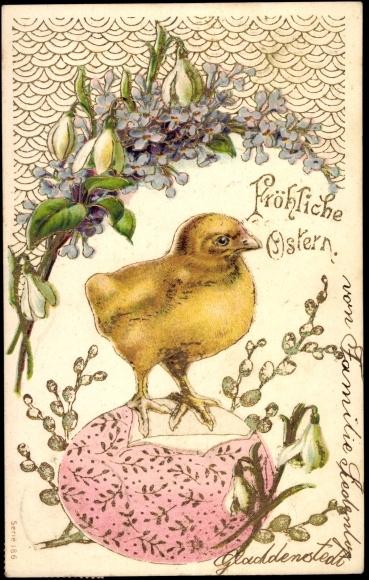 präge ansichtskarte  postkarte frohe ostern küken auf