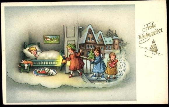 postcard frohe weihnachten engel betreten das zimmer. Black Bedroom Furniture Sets. Home Design Ideas