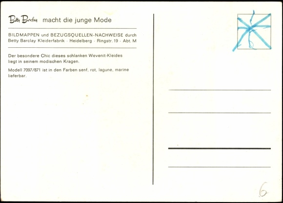 new product f7947 e0f8d Ansichtskarte / Postkarte Betty Barclay macht die junge ...