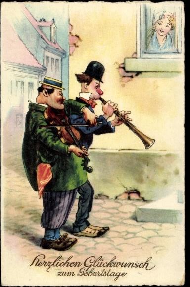 ansichtskarte postkarte gl ckwunsch geburtstag m nner spielen musik klarinette v. Black Bedroom Furniture Sets. Home Design Ideas
