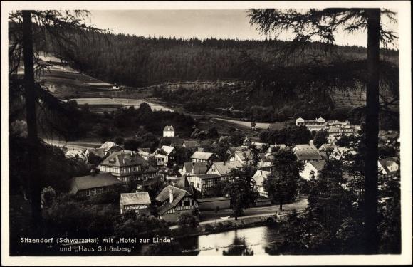 Sitzendorf Schwarzatal, Ortschaft mit Hotel zur Linde u. Haus Schönberg