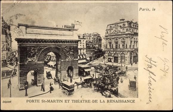 Postcard paris porte saint martin et th atre de la - Theatre de la porte saint martin 75010 paris ...